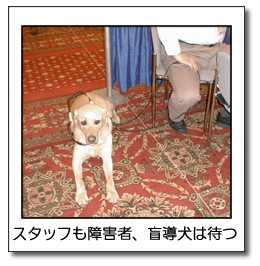 スタッフも障害者、盲導犬は待つ