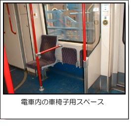 電車内の車椅子用スペースはトランクにも便利