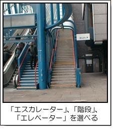 エレベーター、エスカレーター、階段を選べる